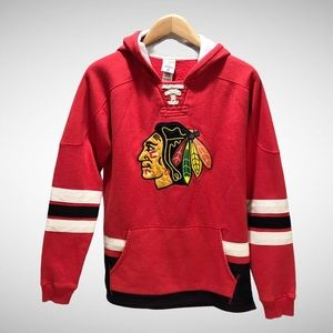Chicago Blackhawks CCM Lace Up Hooded Sweatshirt